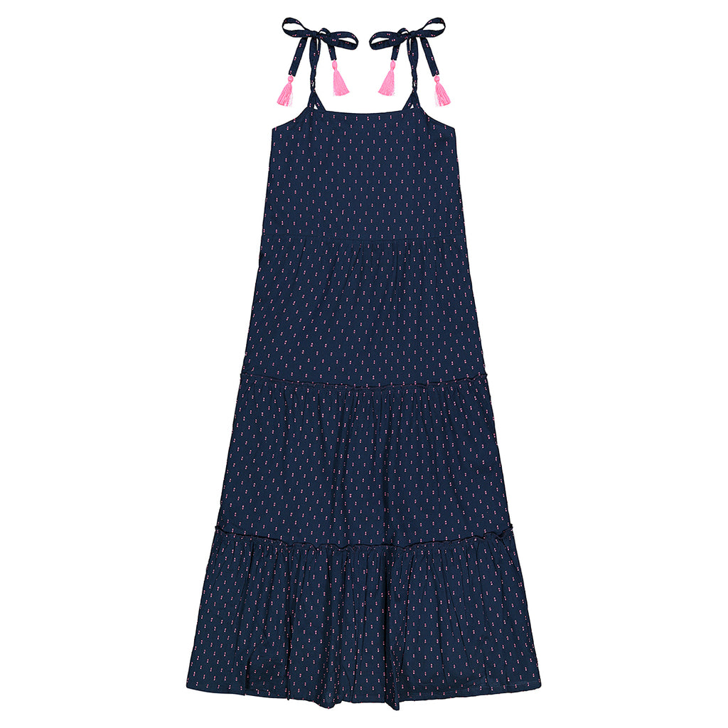 Emilie Women's Maxi Shoulder Tie Sundress Navy Swiss Dot
