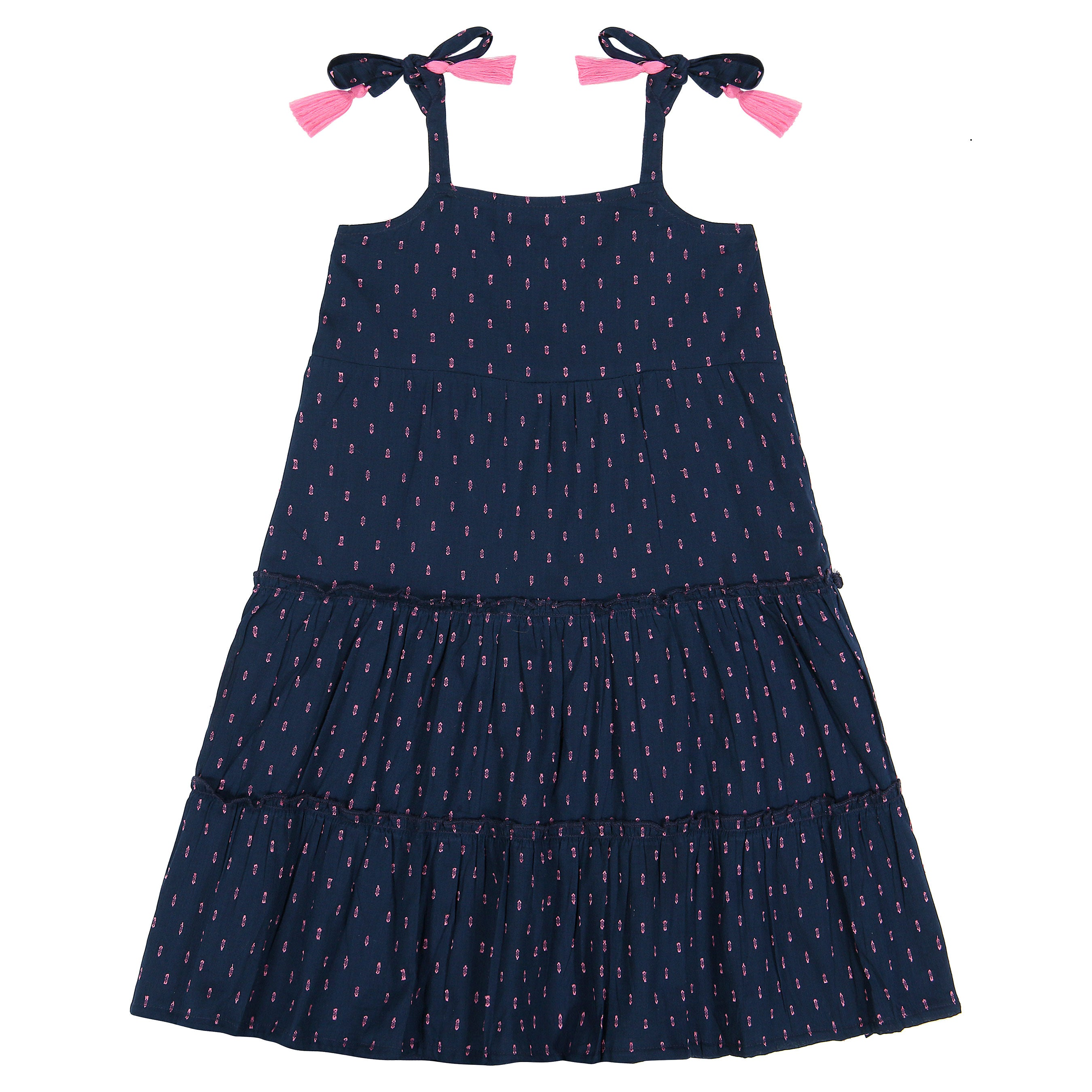 Bella Girls Shoulder Tie Sundress Navy Swiss Dot