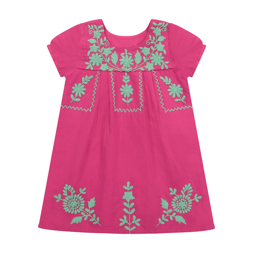 Camille Women's Embroidery Tunic Dress Hibiscus