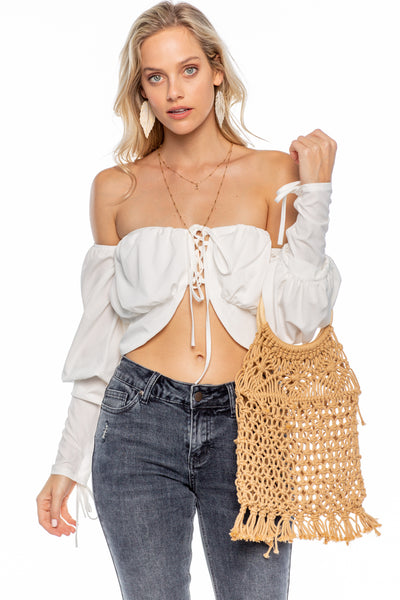 Laced up Short Crop top