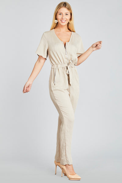 Zip front jumpsuit