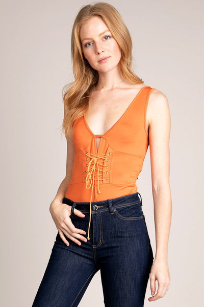 Orange Laced up Bodysuit