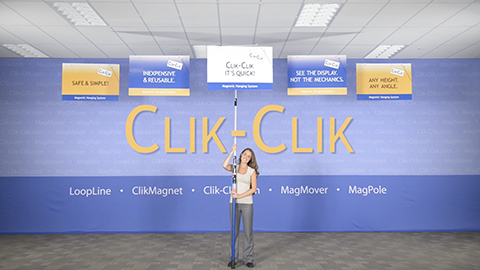 Magnetic Hanging System - the safe and easy way to hang signs, banners, balloon and decor without using a ladder. Using the Clik-Clik System to attach to the metal on most suspended ceilings and industrial ceilings