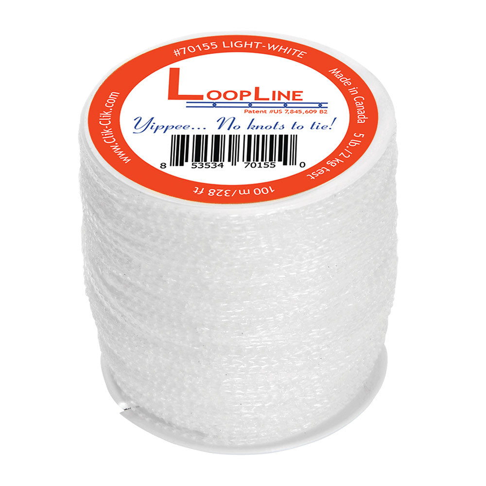 LoopLine is patented, durable, connecting line. Replace barbed-string, difficult monofilament and steel cable with LoopLine. Designed with two inch repeating loops, the line attaches to the magnets and to the signs, displays or decorations without the use of a ladder using Clik-Clik's Magnetic Hanging System.