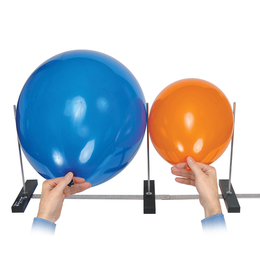 "A portable tool to size latex balloons at any increment from 1.5"" to 36"" (4cm to 91cm). The metal ruler base can be folded for compact use, or extended for larger balloons."