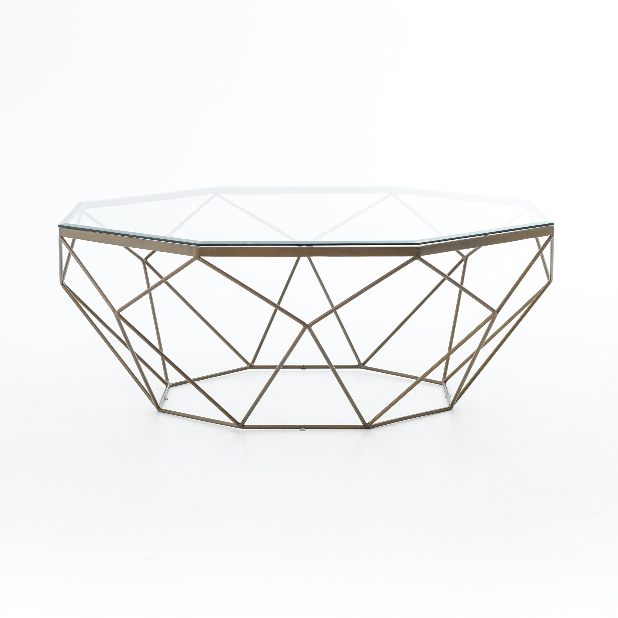 Geometric Coffee Table-Antique Brass