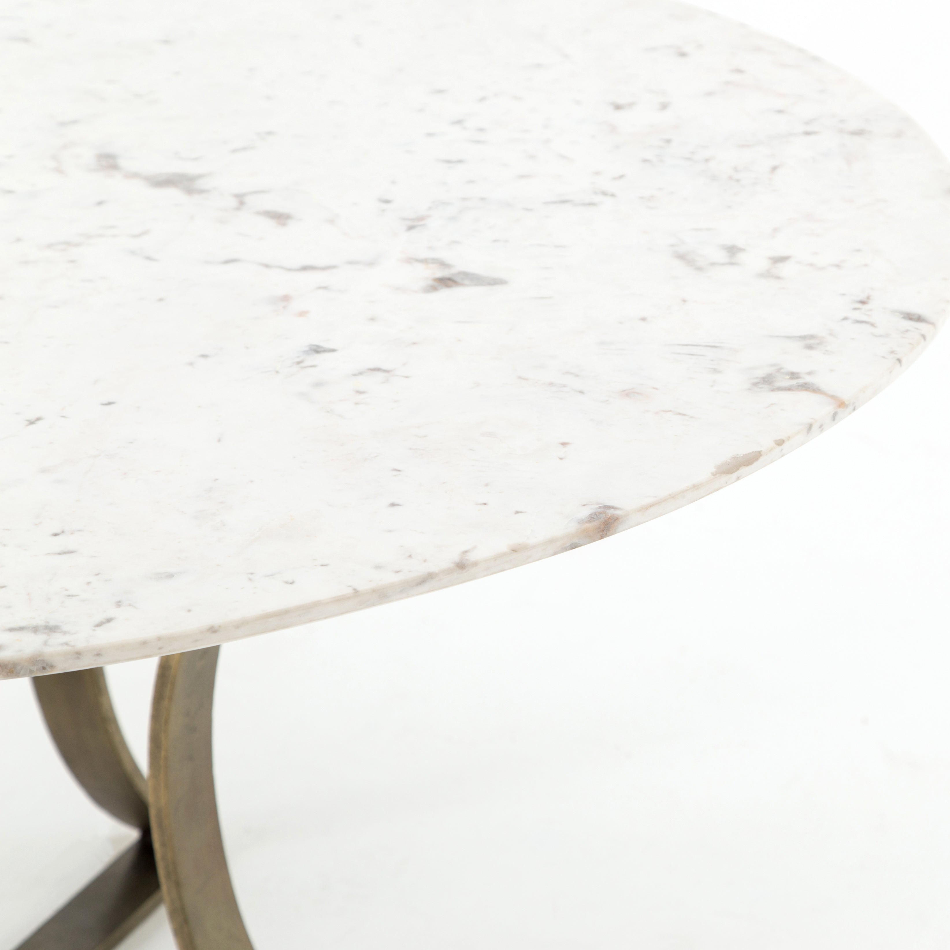 "Gage Dining Table-60""-Polished White Mar"