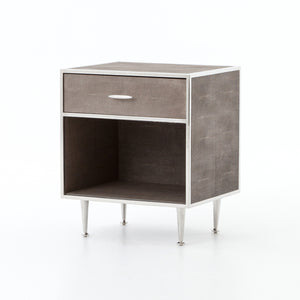 Shagreen Bedside Table-Stainless Steel