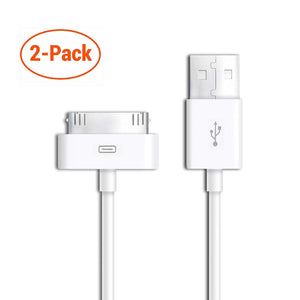 30 Pin USB Charging Data Sync Cable for iPod Nano, iPad 2, iPhone 3, 4, 4S - 2 pack
