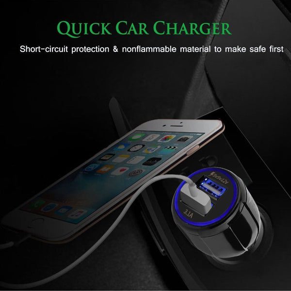 2-Port LED Dual USB 3.1A FAST Car Phone Charger Cigarette Lighter Socket Adapter