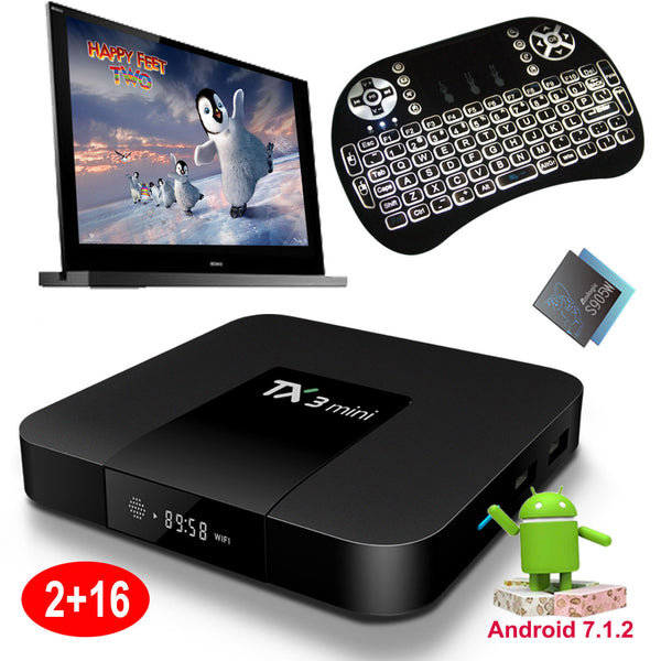 TX3 2/16GB Android 7.1 Quad Core S905W TV BOX Player WiFi HDMI +Backlit Keyboard
