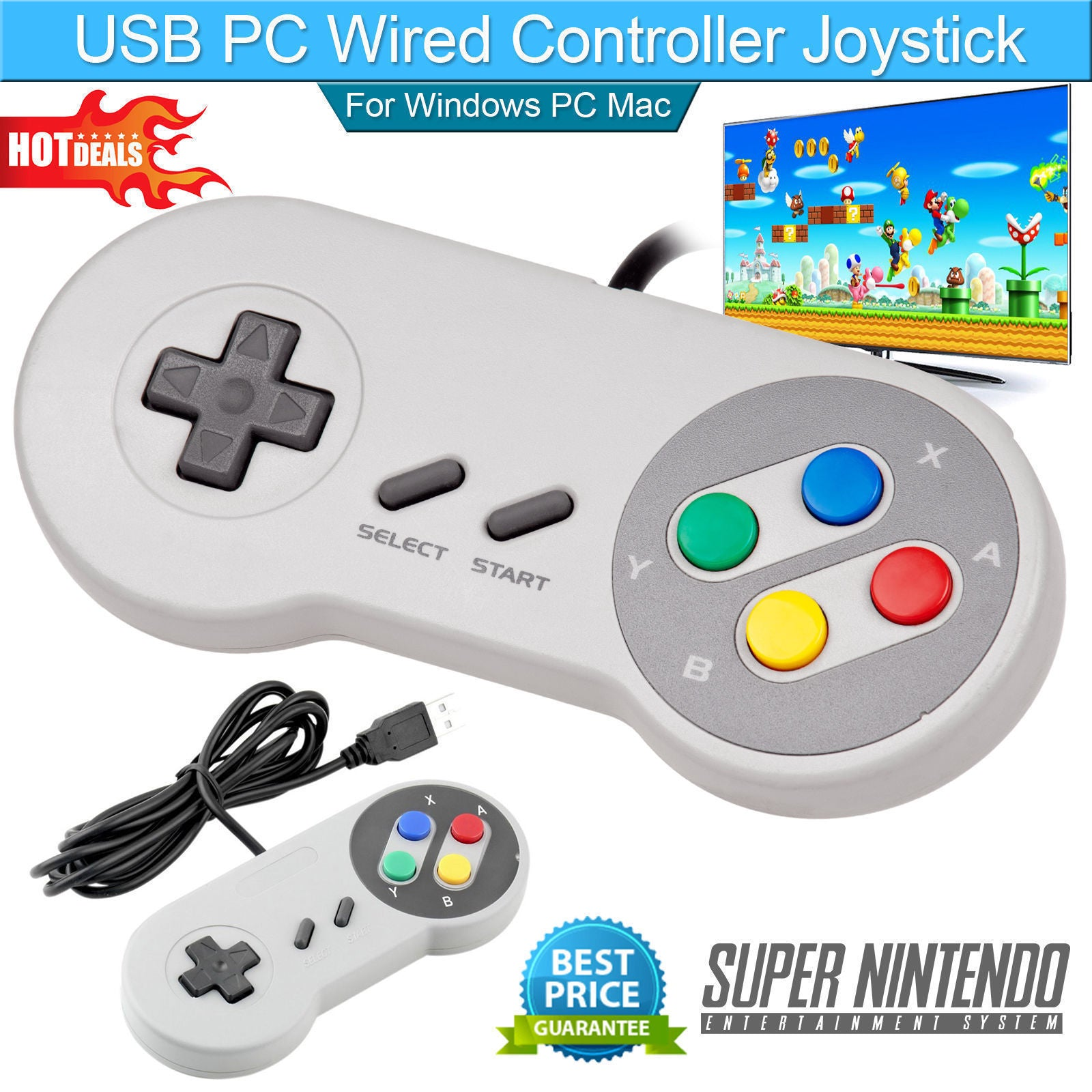 SNES Controller Gamepad USB For PC Mac Pi Super Nintendo Games Retro Classic USA