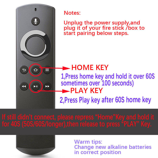 Original REPLACEMENT REMOTE for Amazon Fire TV & Fire TV STICK with Alexa Voice- DR49WK/B