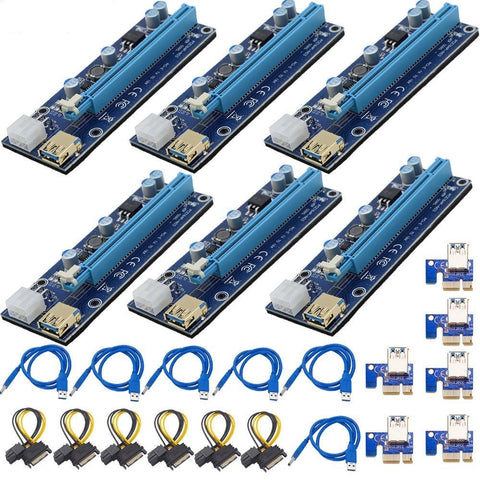6-Pack PCIe GPU Riser Card Adapter PCI-E 1x to 16x w/LED 60cm USB Cable