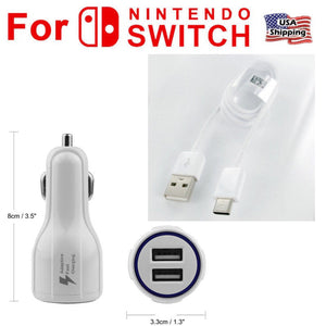 For NINTENDO SWITCH, 12V Car Charger Auto Power Adapter with Type C USB 6ft Cable -White