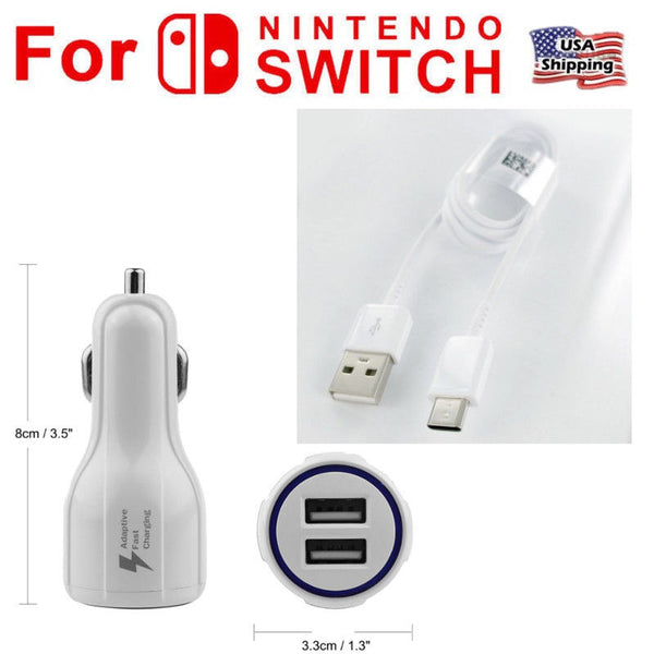 12V Car Charger Auto Power Adapter with Type C USB 6ft Cable for NINTENDO SWITCH