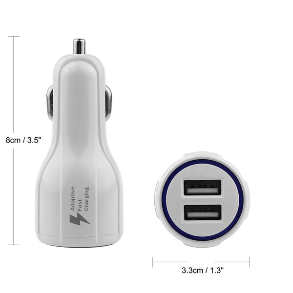 WHITE 3.1A LED Dual USB Fast Car Charger Charging Adapter for iPad/Phone/Tablet