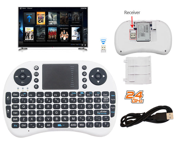 Mini 2.4G Wireless Keyboard Mouse Touchpad Remote for Raspberry LG Sony Samsung Smart TV - White