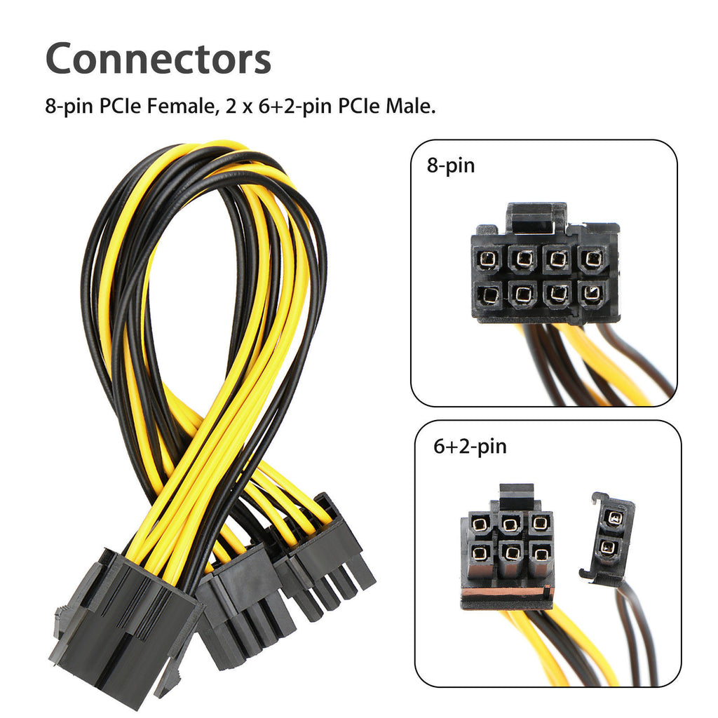 8-Pin PCIE Power Extension Cable for Video Card PCI-Express PCI-E 5X 5-pack