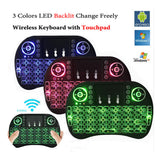 Mini Backlit (3 COLOR BACKLIGHT) Wireless Keyboard Touchpad Mouse for Android Box TV PC
