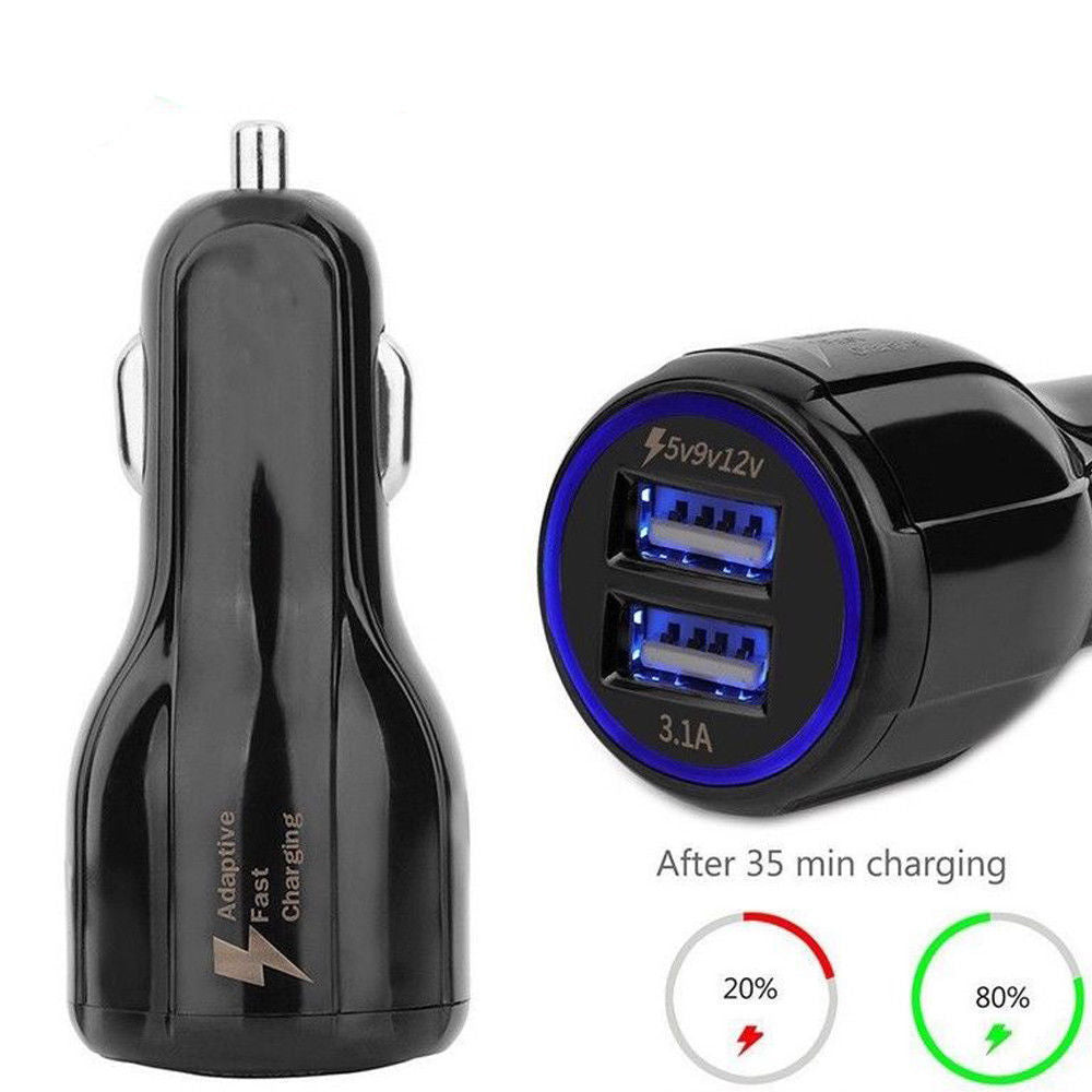 BLACK Quick Fast 3.1A Car Charger Dual USB Charging Phone Samsung iPhone iPad