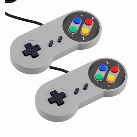 2 Pack - Super Nintendo NES/SNES Style USB Gamepad Controller for PC Mac Raspberry