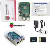 SMI Raspberry Pi 3 B+ (B Plus) Starter Kit- Raspberry Pi Motherboard Model B+, 5V 2.5A USA Power Supply, Clear Case with Access to All Ports, 16GB Micro SD Card with Latest Noobs - Plug N Play