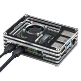 Raspberry Pi Case with Cooling Fan  for Raspberry Pi 4 Model B(Only for Pi 4) (Black and Clear)