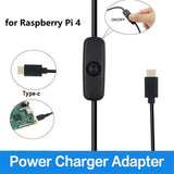 New 5V 3A Type-C Adapter New Supply Power for Raspberry Pi 4 on/off Charger Cable