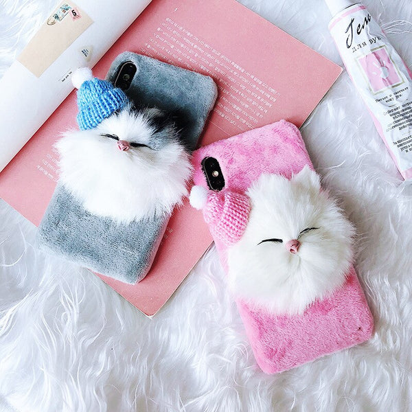 11 Pro 8 7 6 XS Max XR X Plus Cute plush toy Phone Case For iPhone For Apple Back Cover Soft silicone Protective shell no logo