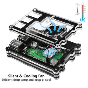 Pi 4 Model B 9 Acrylic Case Black Professional Box For Raspberry Pi 4 Model B With Cooler Fan