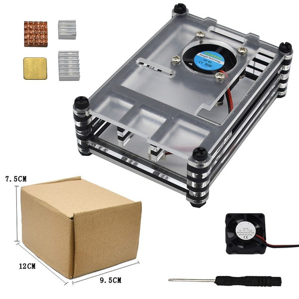 For Raspberry Pi 4 Model B 9 Layer High Quality Acrylic Clear Case Shell With Cooling Fan Heat Sinks