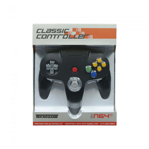 Nintendo 64 N64 Classic Wired USB Controller (works with PC & Mac) Black Retrolink