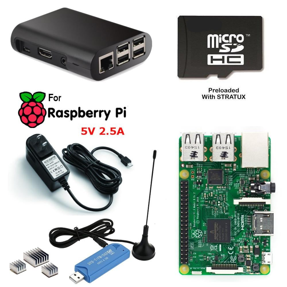 Raspberry Pi 3 Aviation Weather ADS-B Traffic Receiver Kit with Stratux NESDR SDR