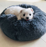 Round Plush Cat Bed House Soft Long Plush Cat Bed Round Pet Dog Bed For Small Dogs Cats Nest Winter Warm Sleeping Bed Puppy Mat