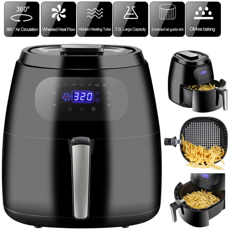 7.6QT Air Fryer 1700W Air Fryer XXL Oven w/Digital Screen 8-15 modes, Recipe