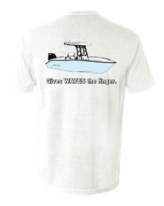 Cape Horn - Gives Waves the Finger - Short Sleeve White Shirt