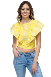 Bold Embroidered Ruffle Top