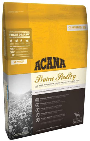 Acana Dog Food: Prairie Poultry Dog  - for all breeds and life stages. Available online from Yes.Pet