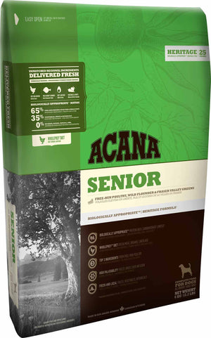 Acana Dog Food: Senior  - for all adult dogs 7 years and older. Available online from Yes.Pet