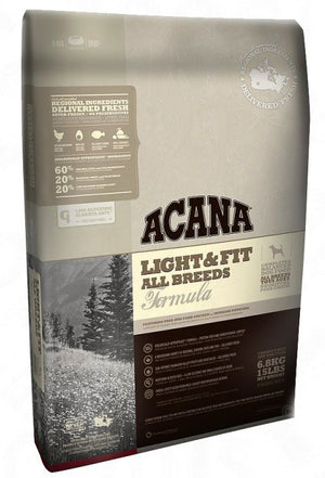 Acana Dog Food: Light & Fit - For adult dogs 1 year and older. Available online from Yes.Pet