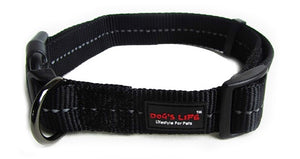 Dog's Life Dog Collar: Reflective Supersoft Webbing Collar - Black. Available online from Yes.Pet