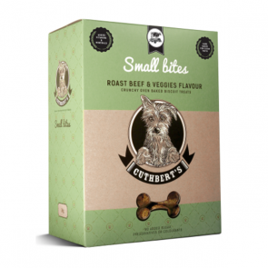 Cuthberts Dog Treats: Roast Beef & Veggies (Small Bites). Available online from Yes.Pet