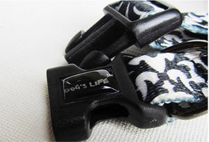 Dog's Life Dog Collar: Designer Pooch Webbing Collar - Damask. Available online from Yes.Pet