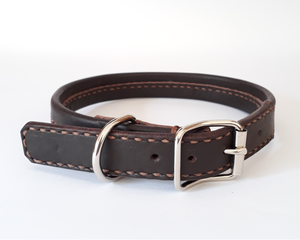 Point Leather Dog Collar: Flat rolled leather collar. Available online from Yes.Pet