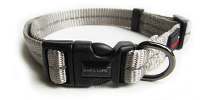 Dog's Life Dog Collar: Reflective Supersoft Webbing Collar -  Grey. Available online from Yes.Pet