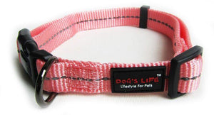 Dog's Life Dog Collar: Reflective Supersoft Webbing Collar -  Pink. Available online from Yes.Pet