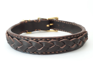 Point Leather Dog Collar: Leather collar with plaited detail. Available online from Yes.Pet
