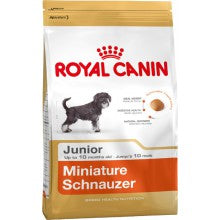 Royal Canin Dog Food: Miniature Schnauzer Junior (2 to 10 months). Available online from Yes.Pet