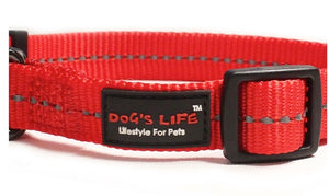 Dog's Life Dog Collar: Reflective Supersoft Webbing Collar -  Red. Available online from Yes.Pet